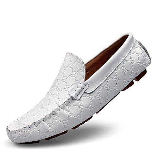Shenn Uomo Unico Goffratura Design Elegante Pelle Scarpe di Guida 9925 Bianco