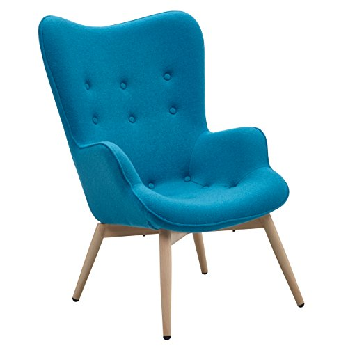 Ohren-Sessel Anjo Retro-Design Blau