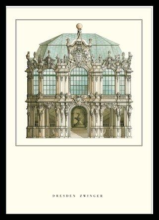Matthaeus Daniel Poeppelmann Dresden, Zwinger Poster Kunstdruck Bild im Holz Rahmen in Buche schwarz 84,1x59,4cm (Holz-zwinger Schwarze)