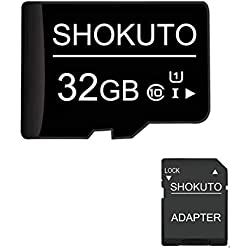 SHOKUTO Carte SD, 32 Go, Carte Mémoire Micro SDHC, Carte TF + Adaptateur SD, Classe 10, U1