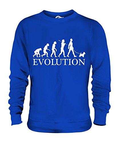 CandyMix West Highland White Terrier Evolution Des Menschen Und Hund Unisex Herren Damen Sweatshirt, Größe 2X-Large, Farbe Königsblau (Sweatshirt Terrier Highland West)