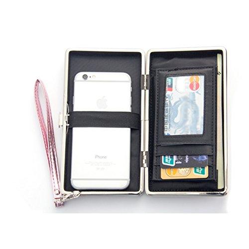 Bonice Diamante Corona borsa del portafoglio da donna con la chiusura lampo in pelle PU multifunzione [Grande capacità] Card Slots Case Cover per iPhone 8/8 Plus/iPhone X, iPhone7/7 Plus/6S/6S Plus/6/ Stile Verticale Lungo 09