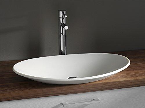 Preisvergleich Produktbild Luxus Design Aufsatzwaschbecken 704 x 420 x 117mm aus Corian (Mineralguß) in weiss, ohne Armaturen Lieferzeit ca. 3-4 Wochen