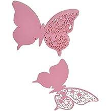 50x Farfalla Nozze Carta Di Nome Tabella Bicchiere Di Vino Luogo Favore Natale Rosa