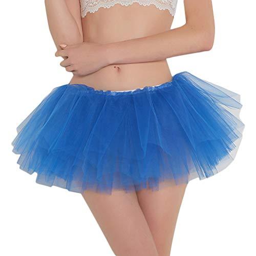 CUTUDE Tutu Damen Rock Tüllrock 50er Kurz Ballet 4 Layers Tanzkleid Zubehör für Frauen Mädchen 10 Farben (Dunkelblau, Eine (School Girl Kostüme Billig)