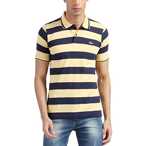 Proline Men Half Sleeve Rugby Striper Polo T Shirt  available at amazon for Rs.399