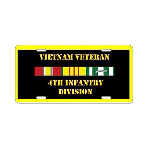CafePress 4th Infantry Division Aluminum License Plate - Standard Multi-color