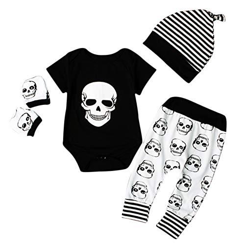 Kostüm Halloween Schädel - Shiningbaby Halloween Kostüme Baby Boy Kleidung Set Schädel Strampler und Hose Handschuhe und Hut 4 Stück Outfit