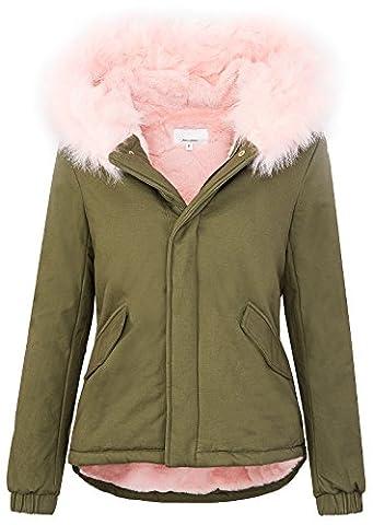 Designer damen parka winter jacke gefütterte jacke mit kapuze XXL-kunstfell D-222 [Rosa Gr. M]