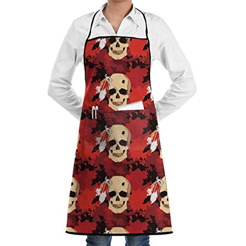 Black Apron Indian Tribe Headress Skull Aprons Bib for Mens Womens Garden String Adjustable Adult Kitchen Waiter Aprons with Pockets