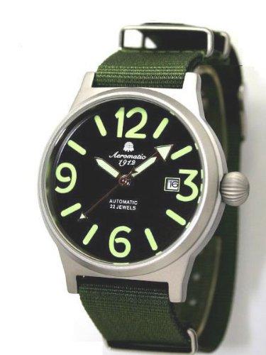 Aeromatic 1912 A1337 - Reloj para hombres, correa de nailon color verde