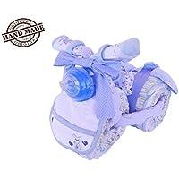 Triciclo accessoriato, torta di 45 pannolini Huggies, tg. 3, 4-9 kg, ideale come regalo per mamme in dolce attesa, azzurra