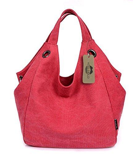 (KISS GOLD Damen Schultertasche Canvas Totes Hobo Bag mit einfachem Stil, Rot)
