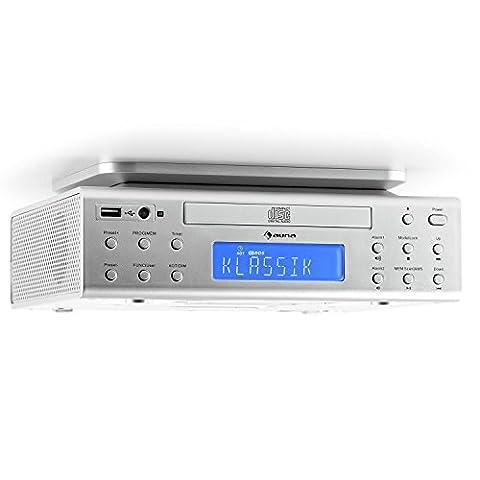 auna KRCD-150 • Küchenradio • Unterbauradio • UKW-Radio • RDS • 32 Senderspeicherplätze • automatischer und manueller Sendersuchlauf • MP3-fähiger USB-Port • CD-Player • AUX • Dual-Alarm • Eieruhr • Stereo-Lautsprecher • Fernbedienung • silber