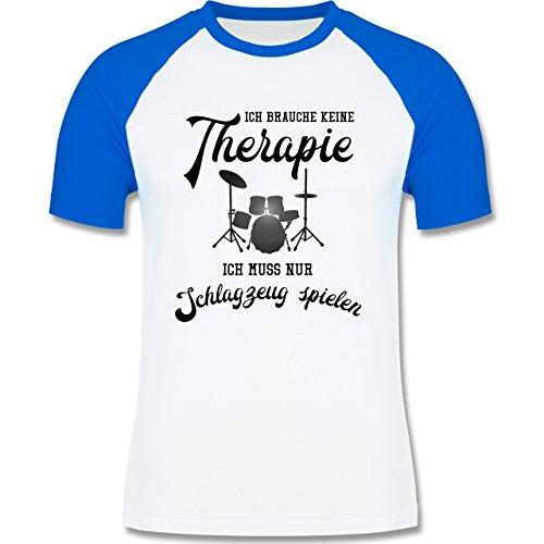 Instrumente - Ich brauche keine Therapie ich muss nur Schlagzeug spielen - zweifarbiges Baseballshirt für Männer Weiß/Royalblau