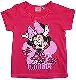 Minnie Mouse T-Shirt Mädchen Disney Rundhalsausschnitt (Fuchsia, 128)