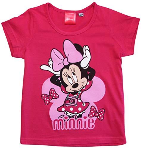 Minnie Mouse T-Shirt Mädchen Disney Rundhalsausschnitt (Fuchsia, 104) Disney Mädchen Minnie Mouse