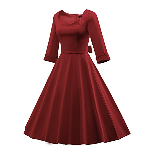 LUOUSE Femme Manteau Robe Rétro Vintage Années 50 's Style Audrey Hepburn Classique Coton Plusieurs couleurs E703-Bordeaux