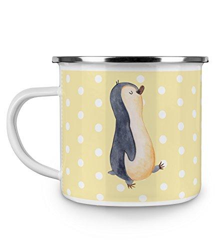 Mr. & Mrs. Panda Emaille Tasse Pinguin marschierend - 100% handmade in Norddeutschland - , Becher, Camping, Kaffeebecher, Campingbecher, Frühaufsteher, Schwester, Pinguine, Kaffeetasse, Bruder, Metalltasse, Emaille Tasse