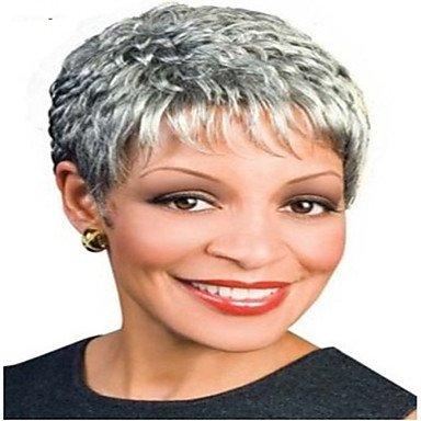 hjlhyl-parrucche synthétiques perruque grise mode cheveux courte de la femme