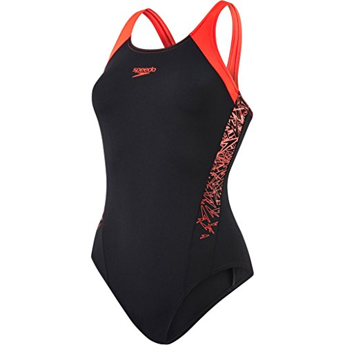 Speedo Damen Boom Splice Muscle Back Badeanzug, Mehrfarbig (Black/Lava Red), DE 40