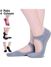 cholinchin 4 Pares de Calcetines de Yoga Damas Antideslizante  Antideslizante Yoga Polkadots algodón Mujer para Deporte Pilates b4600e8094fb