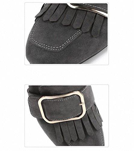 Quasten Damenschuhen Einem Schuhe Und Flacher Grey Mit Europäische Amerikanische Kopf Mode Frühlingsmodelle Quadratischer Schuhen 2017 Mund Dicken Einzelnen schuhe 8wfqpzAWTx