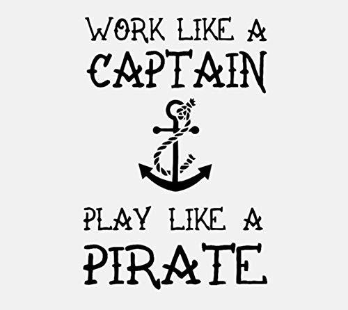 DIY Wandaufkleber Arbeit Wie ein Kapitän Spielen Wie ein Pirat Zitat PVC Kunst Wohnkultur Geschenk Aufkleber Für Kinderzimmer 49x72 cm