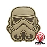 Cobra Tactical Solutions 3D PVC Star Wars Head Stormtrooper Patch grau mit Klettverschluss Airsoft cossplay