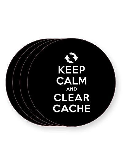 Keep Calm and Clear Cache - Internet Humour - Getränkeuntersetzer - einzeln oder als 4er Pack - quadratisch oder rund, ROUND Pack of 4