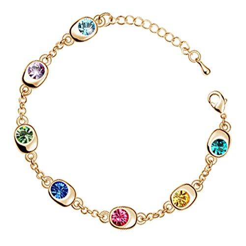 GWG® Pulsera Brazalete para Mujeres, Chapada en Oro 18K con 7 AAA Cristales Brillantes Austríacos Ajustable