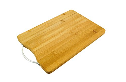 Best ORGANIC Bamboo Cutting Board & Extra Large Wood Kitchen Chopping Board with Groove - Thick, and Eco-Friendly - Perfect Wedding or Housewarming Gift (34CM X 23CM X 2CM) By Kurtzy  available at amazon for Rs.499