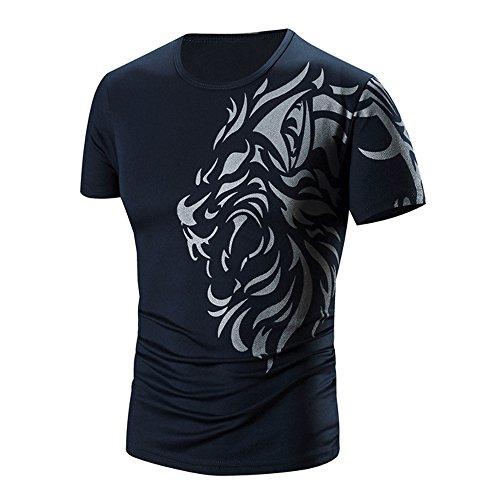 PANPANY T Shirt Camisetas Hombre de Color sólido de Manga Corta...