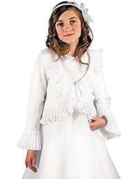 MGT-Shop Mädchen Kommunionbolero Kommunionsbolero Kommunionsjacke Kommunionjacke Cape Bolero Jacke MK-41 weiß