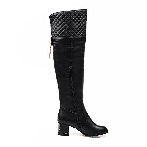 AgooLar Damen Mittler Absatz Blend-Materialien Rein Reißverschluss Rund Zehe Stiefel, Braun, 42