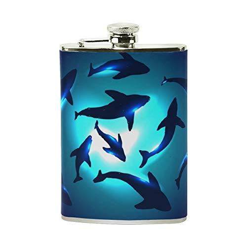 FGRYGF Underwater Sharks Stainless Steel Flachmann,Pocket Flagon,Camping Wine Pot,Gift for Men or Women Bin Matt Steel
