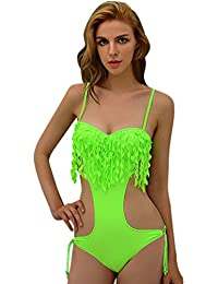 Dehang - Maillot de Bain Femme Monokini/ Trikini 1 pièces Sexy à Franges Push Up - Couleurs et Tailles au choix