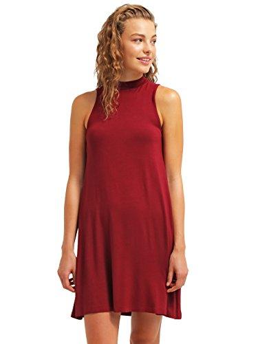 Sommer-Kleid für Damen knielang in Rot von ★ The Style Room ★ elegantes Strandkleid ohne Ärmel, Cocktailkleid aus Jersey kurz, (Marilyn Kleid Neckholder Monroe)
