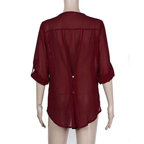 Blouse, Tonsee Fashion femmes décontractée Loose chemisier en mousseline de soie Tops manches longues Rouge
