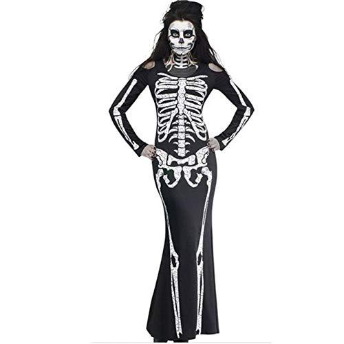 DRLVMO Kleid Frauen Geist Festival Horror Skelett Skelett Geist Kostüm Party Kleid Druck Kleid Frauen