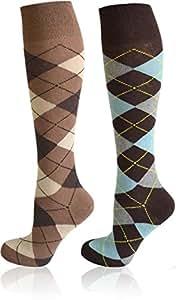 2 Paar Karo Kniestrümpfe mit Frotteesohle Farbe Farbset 1 Größe 35-38