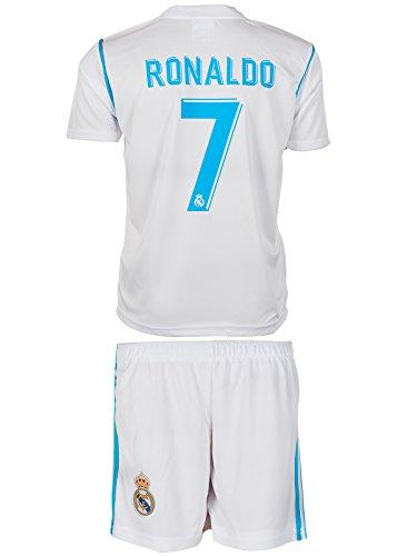 Real Madrid 2017/18 Heim # 7 Ronaldo - Kinder Trikot und Hose (128)
