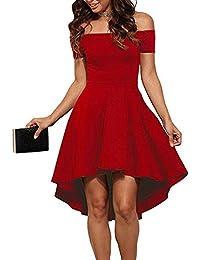 Mujer Elegante Retro Vestidos Dobladillo Irregular Sin Tirantes Manga Corta Vestidos de Coctel Rockabilly 50s Vestido