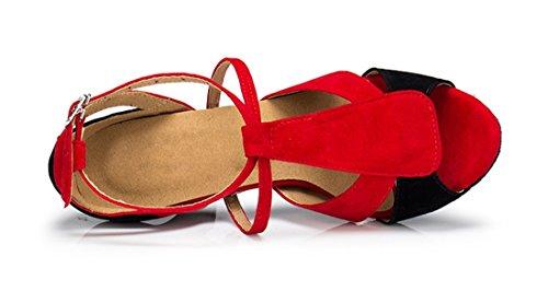 TDA , Peep-Toe femme 7.5cm Heel Red Black