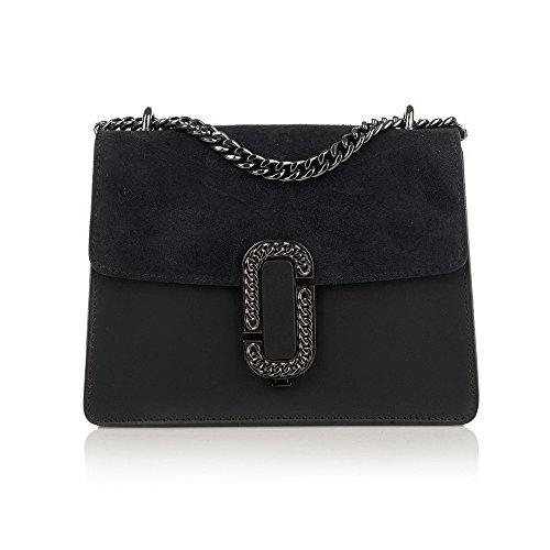 GENEVRA Borsa pochette a spalla tracola catena e accessori in metallo pelle liscia e patta camoscio Nero