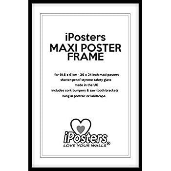 Black Wood Poster Frame For 36 x 24 Inch (91.5 x 61cm) Maxi Poster ...