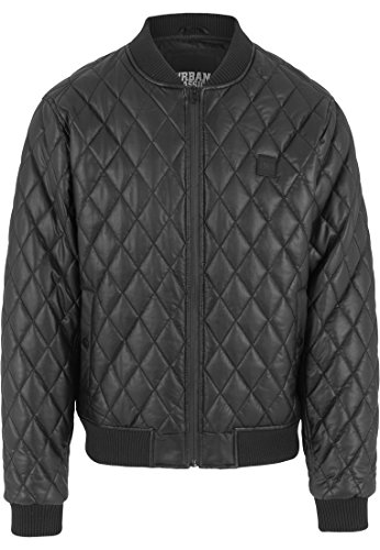 Urban Classics Herren Jacke Jacke Diamond Quilt Leather Imitation Jacket schwarz (Schwarz) Medium (Herren-leder-sport-jacke)