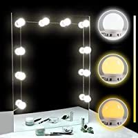 TOMNEW Vanity Mirror Lights, Hollywood Style LED Mirror Lights 10 Dimmable Bulbs Kit for Makeup Dressing Table with Touch Dimmer and Power Supply Plug in Lighting Fixture Strip (White & Yellow Light)