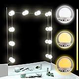 TOMNEW Kosmetikspiegel-Lichter, Hollywood-Stil, LED-Lichter, 10 dimmbare Glühbirnen, Set für Make-up, Schminktisch mit Touch-Dimmer und Netzteil White & Yellow Light