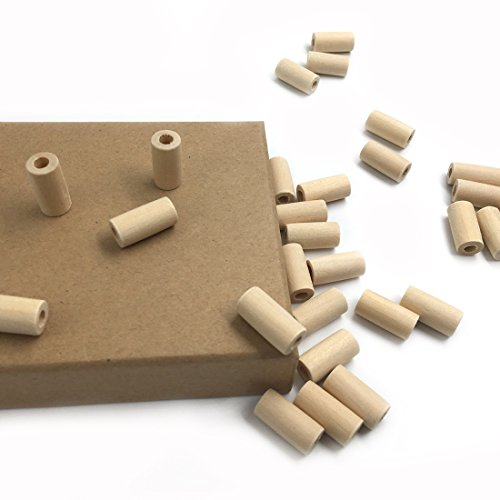 Coskiss 50pcs Natural Wooden Teether 20mm * 10mm (0.79\'\'0.39 \'\') Holz Perlen Zylinder / Geometrie geformt Unvollendet Eco-friendly Unbehandelte Tube Bead DIY Crafts Spielzeug (Farbe 9)